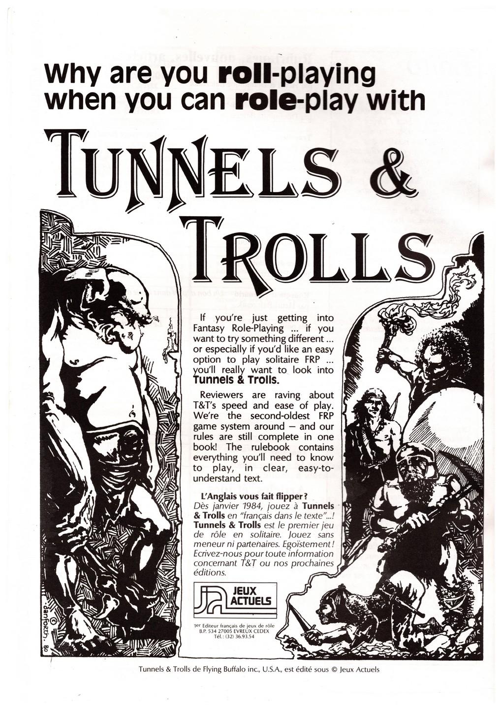 Page publicitaire pour Tunnels et Trolls